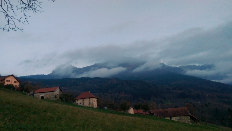 Looking back up to the mountains I had travelled across earlier from Revel, a village in the foothills of Belledonne