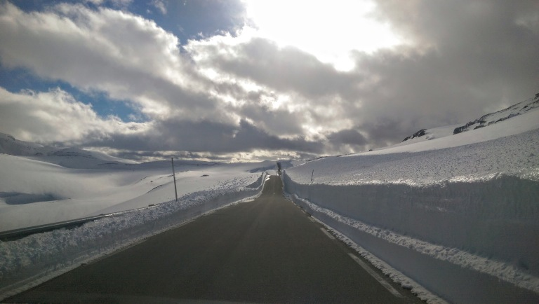 snow fields on road over sognefjellet