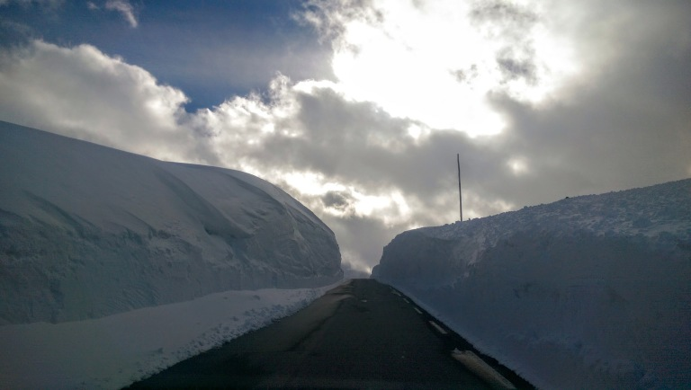 high snow on the road over sognefjellet